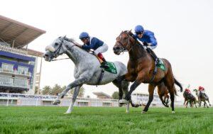 Frankie Dettori gon Dark Power in the $1-million stc 1351 Turf Sprint in Saudi Arabia. Photo, Edward Whitaker - Racing Post Photos