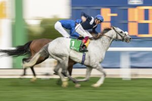 Frankie Dettori and Dark Power in the $1-million stc 1351 Turf Sprint in Saudi Arabia. Photo, Edward Whitaker - Racing Post Photos